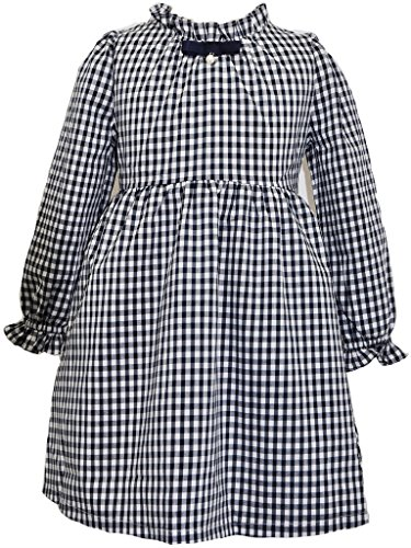 Bonny Billy Girls Long Sleeve Solid Pleated A-Line Children Dress with Bow 4-5 Years Small Grid -