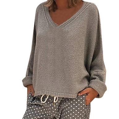 Goosuny Strickpullover Damen Lässig Locker Tiefes V-Ausschnitt Einfarbige  Strickoberteile Pullover Hoodie Sweatshirt Bluse Warm de6949b043