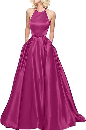 La Marie Braut Dunkel Pink Satin Hundkragen Abendkleider Ballkleider  Brautjungfernkleider Bodenlang Damenmode -32 Dunkel Pink 7d352a0cfa