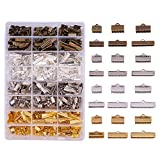 10mm flat iron - PandaHall Elite 680PCS 6 Size 4 Color Iron Ribbon Ends Bracelet Bookmark Pinch Crimp Clamp End Findings Cord Ends Fasteners Clasp Leather Crimp Ends Jewelry Making Findings