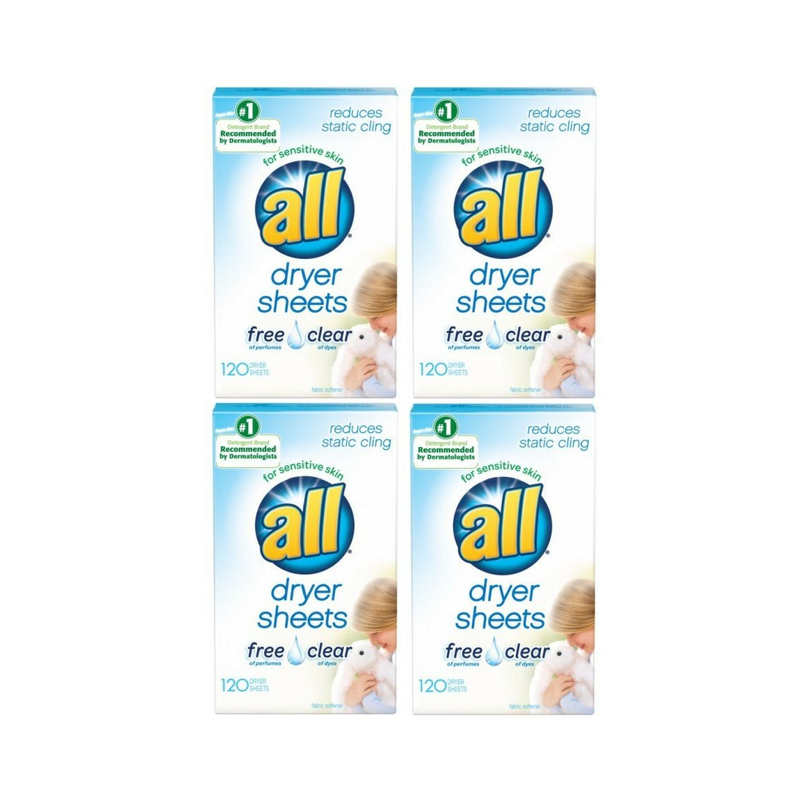 all Fabric Softener Dryer Sheets for Sensitive Skin, Free Clear, 120 Count - 4 Packs