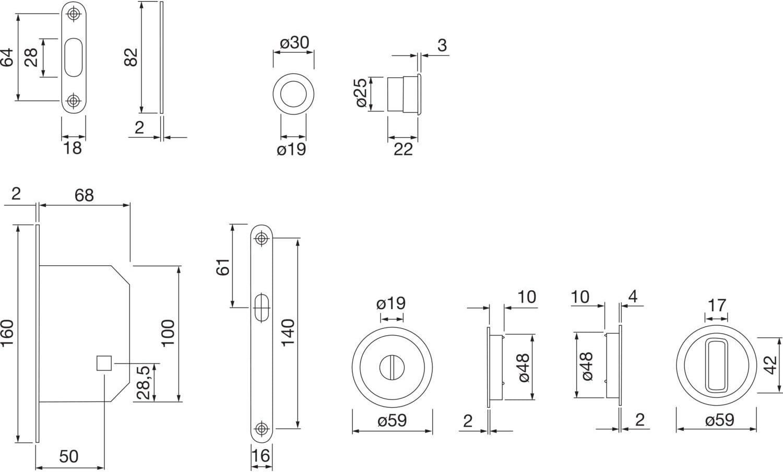 Runde Rosette WC HOPPE Schiebet/ürmuschel Set 4920 verchromt Sat Muschelgriffe mit Schloss