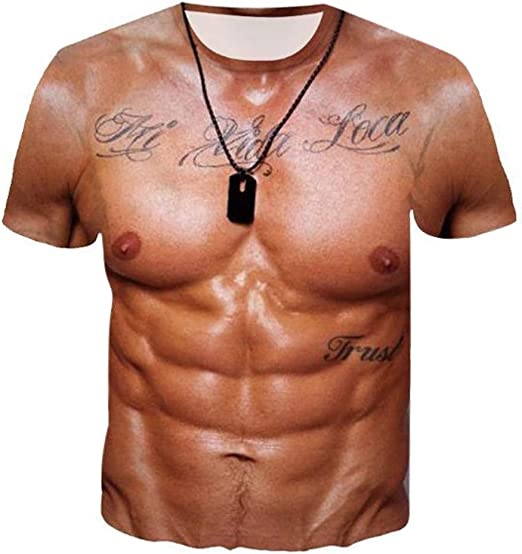 Fashion Unisex 3D Printed Muscle Pullover Short Sleeve T-shirt Tops Tee Blouse