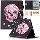 iPad Air 2 Case, iPad 6 Case, Dteck(TM) Pretty Cute Cartoon Flip Smart Kickstand Case with {Auto Sleep Wake} Premium Synthetic Leather Magnetic Wallet Cover for Apple iPad Air 2-Pink Floral Skull