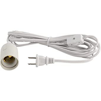 abi e26 light bulb socket to 2 prong us ac power cord adapter with rh amazon com