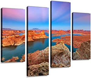 Twilight Landscape Above Lake Powell Canvas Wall Art Hanging Paintings Modern Artwork Abstract Picture Prints Home Decoration Gift Unique Designed Framed 4 Panel