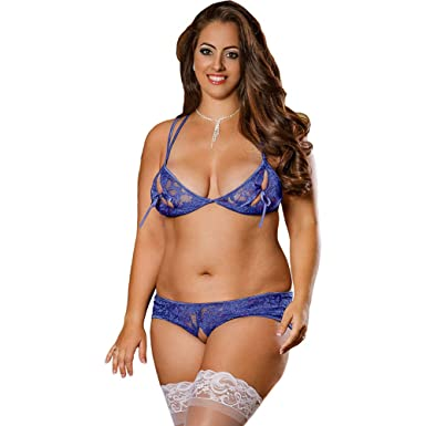146c75fde42 Amazon.com: Plus Size Open Cup Lace Bra and Crotchless Panty Set Blue Plus  Size: Clothing