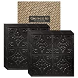 Genesis - Antique Black 2x2 Ceiling Tiles 3 mm Thick (Carton of 12) – These 2'x2' Drop Ceiling Tiles are Water Proof and Won't Break - Fast and Easy Installation (2' x 2' Tile)