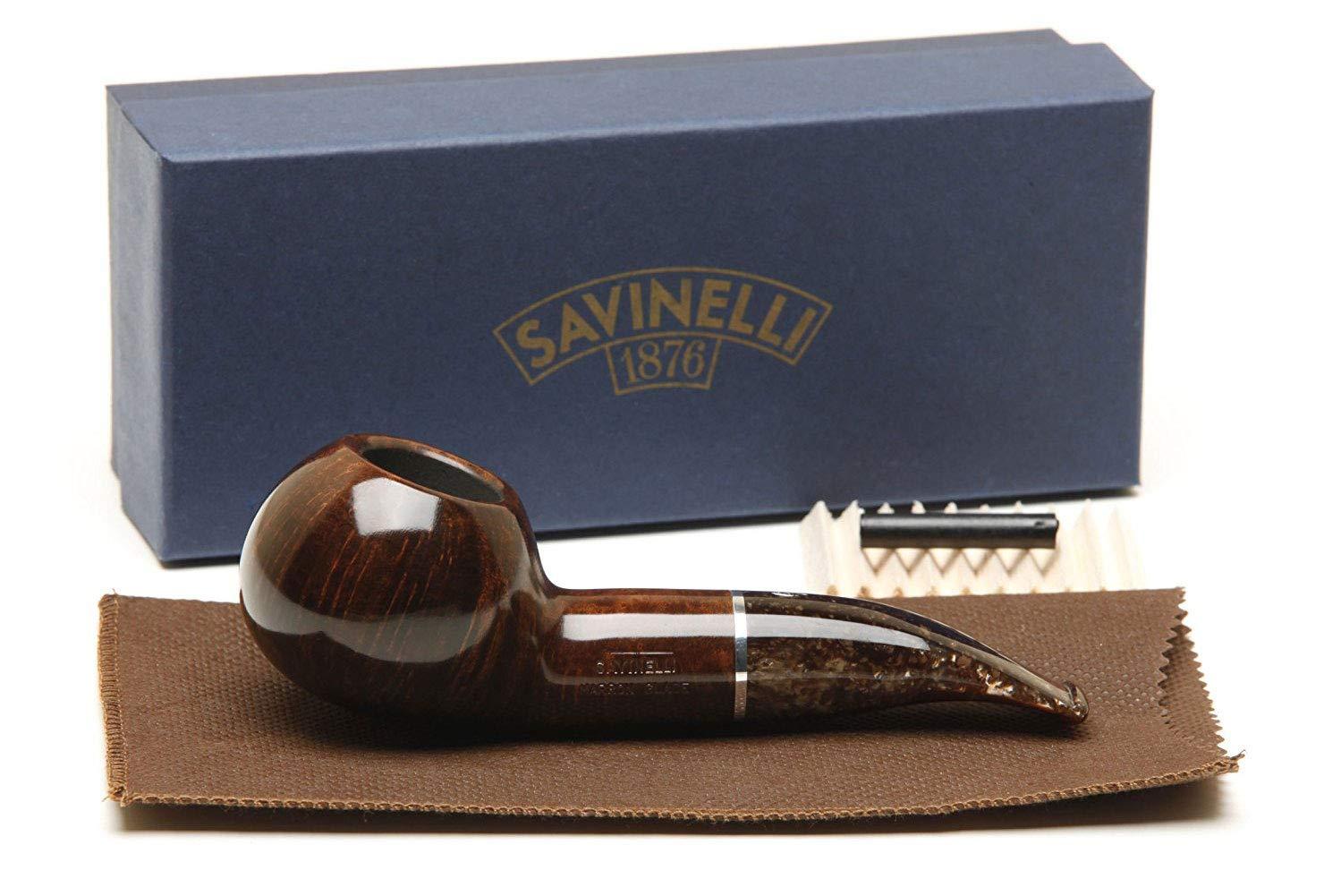 Savinelli Italian Tobacco Smoking Pipes, Marron Smooth 320 KS