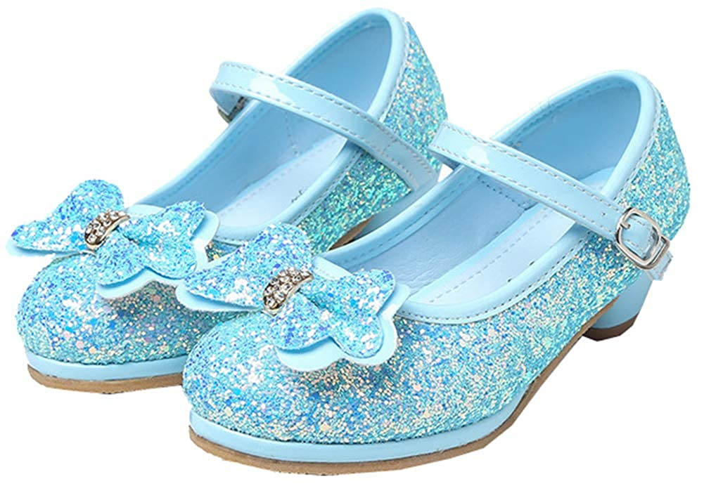 AGOWOO Girls Beaded Cute Sandals Mary Jane Loafers Shoes