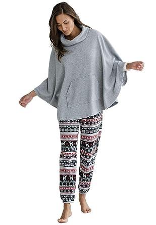 3c1e016fcaa Ellos Women s Plus Size Fair Isle Fleece Pajama Pants - Black Multi Print