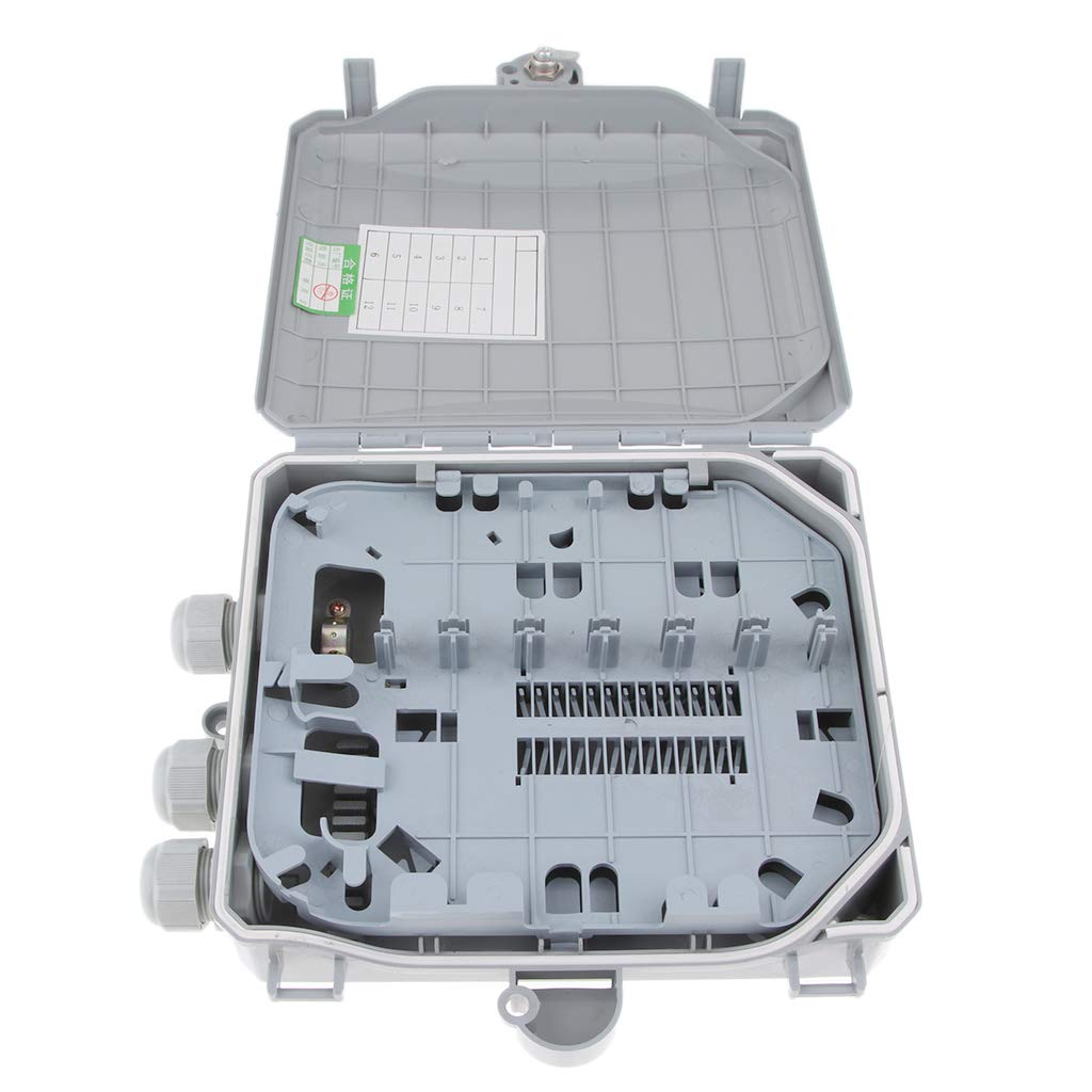 Rainning-proof Terminal Box ABS FTTH Terminal Box for Outdoor Indoor B Blesiya 12 Core FTTH Fiber Optic Distribution Box Waterproof