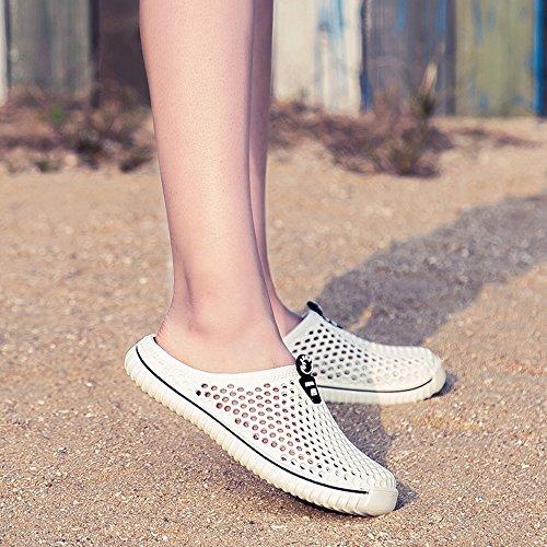 Beach Pantoffeln Slippers Schuhe Clogs Hohl Wasser Atmungsaktiv Badeschuhe Freizeit Damen Latschen Slipper Sommer Strand Gartenschuhe Aqua Hausschuhe Flach Home Mesh BIGU Weiß Herren Tw4ZHqn5Z