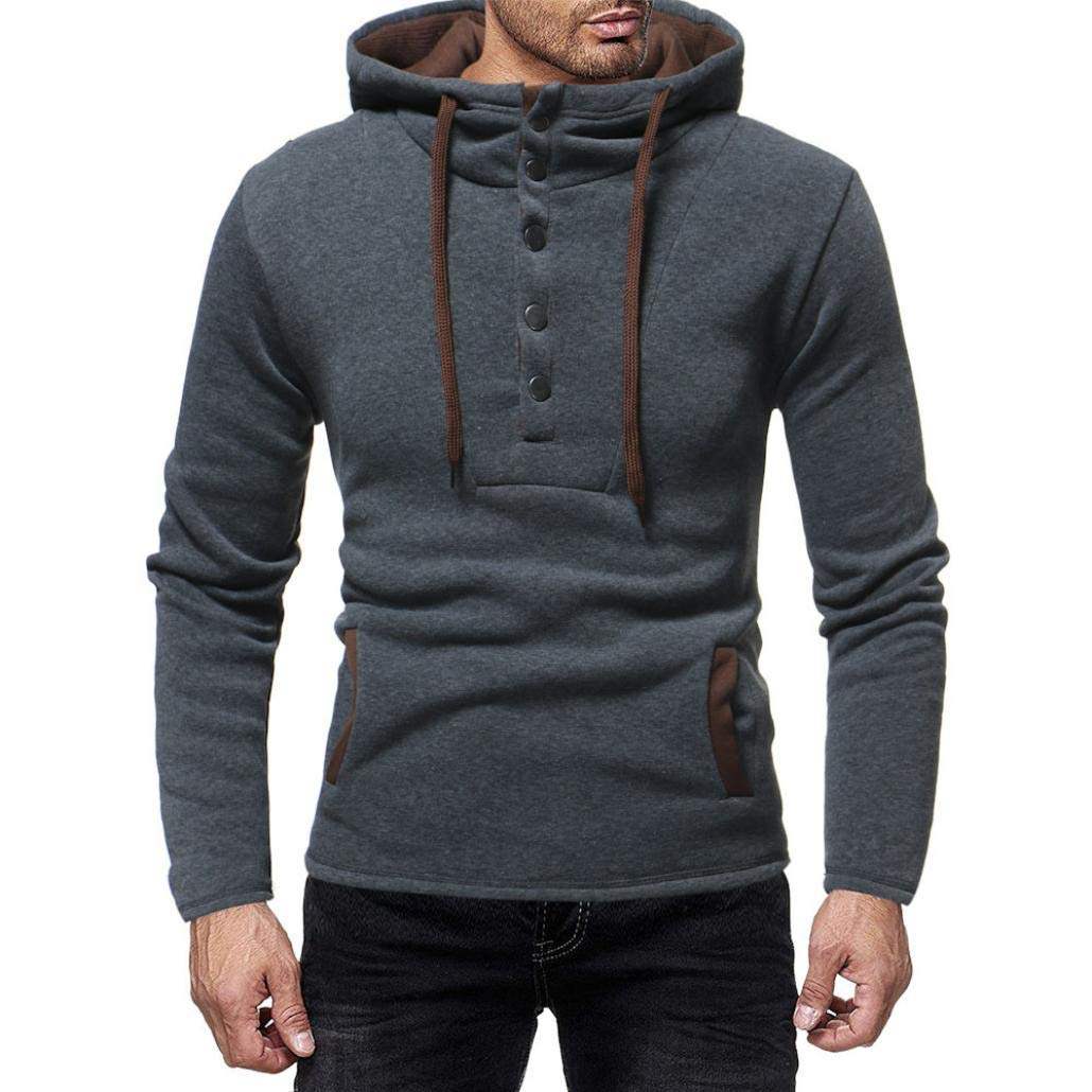 kaifongfu Hooded,Autumn and Winter Mens Button Cap Casual Suits Sweatshirt Top(Gray,2XL)