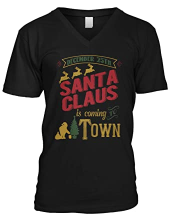 b4089d831 Amazon.com: Amdesco Men's Santa Claus is Coming to Town V-Neck T-Shirt:  Clothing