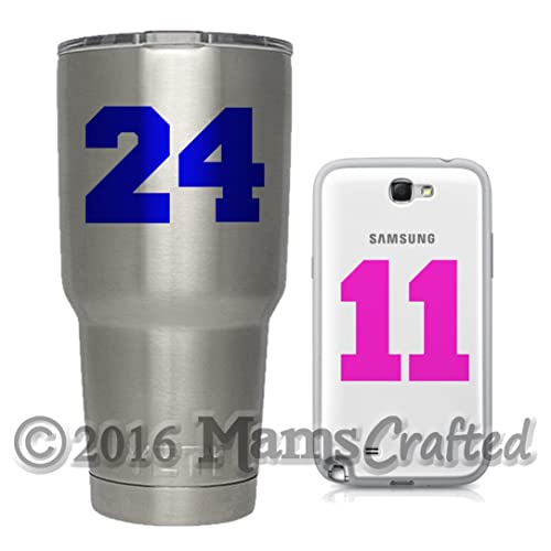 Varsity sports number vinyl decal yeti water bottle cup laptop phone