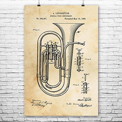 (Concert Tuba Poster Print, Tuba Player Gift, Sousaphone, Music Teacher, Band Director, Music Studio, Brass Instruments Vintage Paper (8