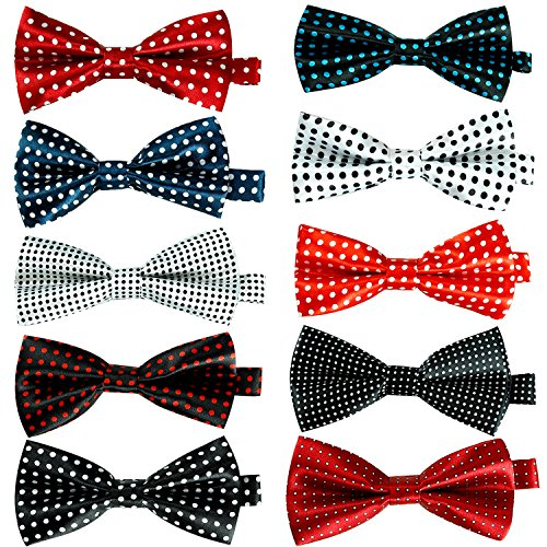10 Pcs Elegant Pre-tied Bow Ties Formal Tuxedo Bowtie Set with Adjustable Neck Band,Gift Idea For Men And Boys