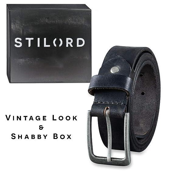 STILORD Cinturón de Cuero para Hombre de Búfalo Robusto Correa para Vaqueros  con Hebilla de Espina Vintage 34mm  Amazon.es  Ropa y accesorios 9eb9f96f4781