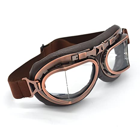 SummShine Klassisch Braun Motorradbrille Schutzbrille Raf Aviator Pilot Biker Cruiser Pilot Fliegerbrille Motocross Cruisers Half Face Helmbrillen Helm Brille