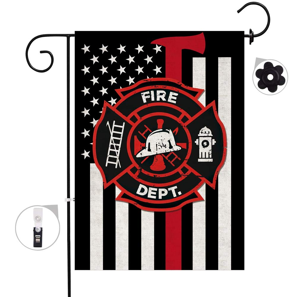Bonsai Tree Firefighter Thin Red Line Burlap Garden Flag Banners, Decorative Outdoor Double Sided EMT Yard Flag 12 x 18 Prime