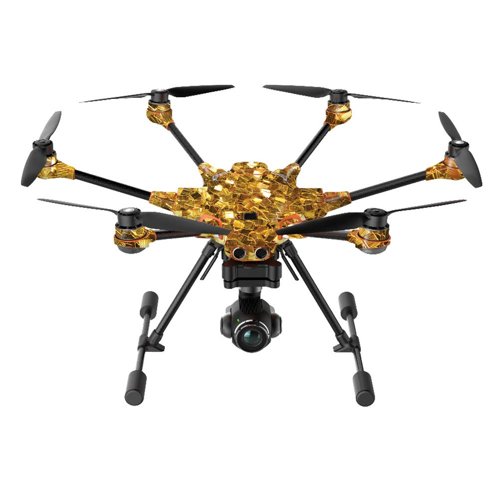 MightySkins Skin Compatible with Yuneec H520-G Quadcopter Drone - Gold Chips | Protective, Durable, and Unique Vinyl Decal wrap Cover | Easy to Apply, Remove, and Change Styles | Made in The USA