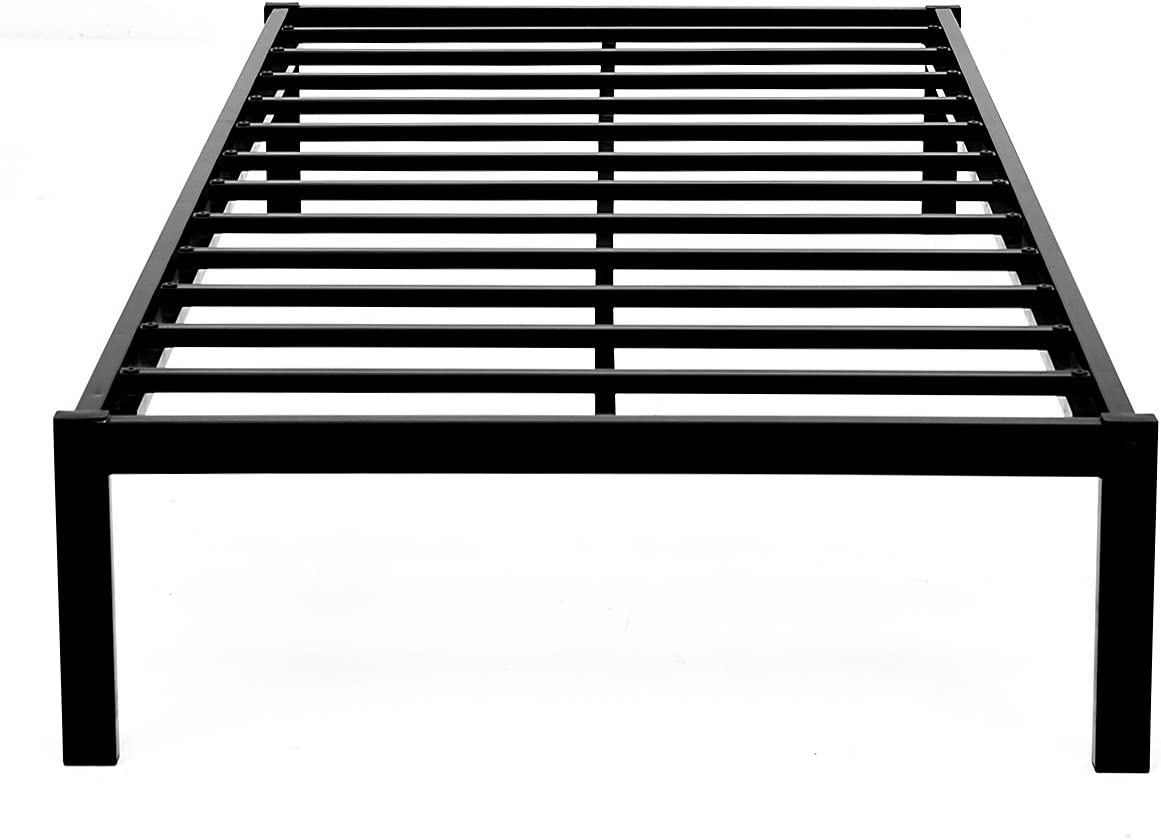 JURMERRY 14 Inch Bed Frame Metal Platform Mattress Foundation No Box Spring Needed Heavy Duty Steel Slat Non-Slip Support Twin, Black