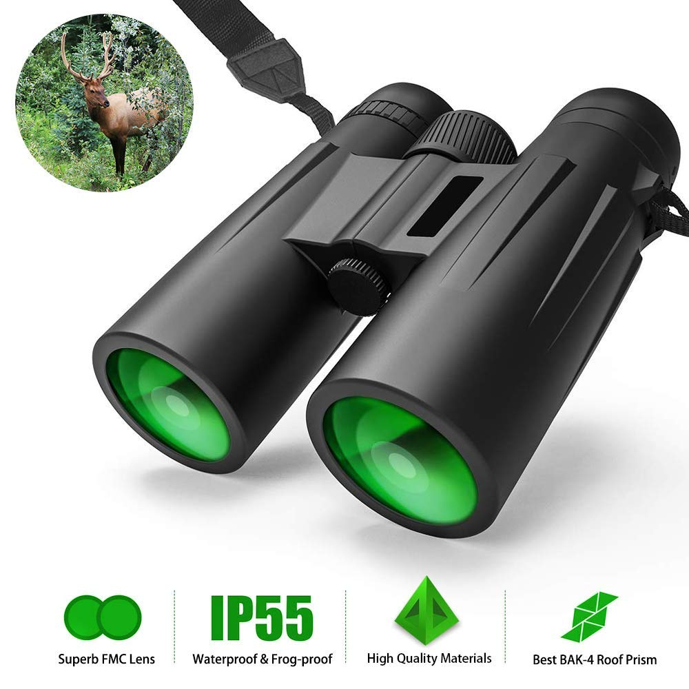 12X42 Roof Prism Binoculars Waterproof Professional HD Binoculars with Low Light Night Vision FMC Lens & Carrying Bag Strap Compact Adults BAK4 Binocular for Travel Birds Watching Hunting Concerts by HongDiXiang