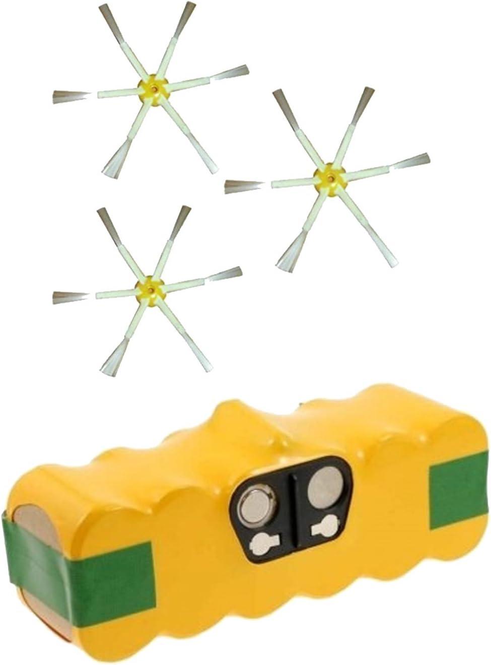 Batería + Cepillos laterales 6 brazos para iRobot Roomba serie 600 ...