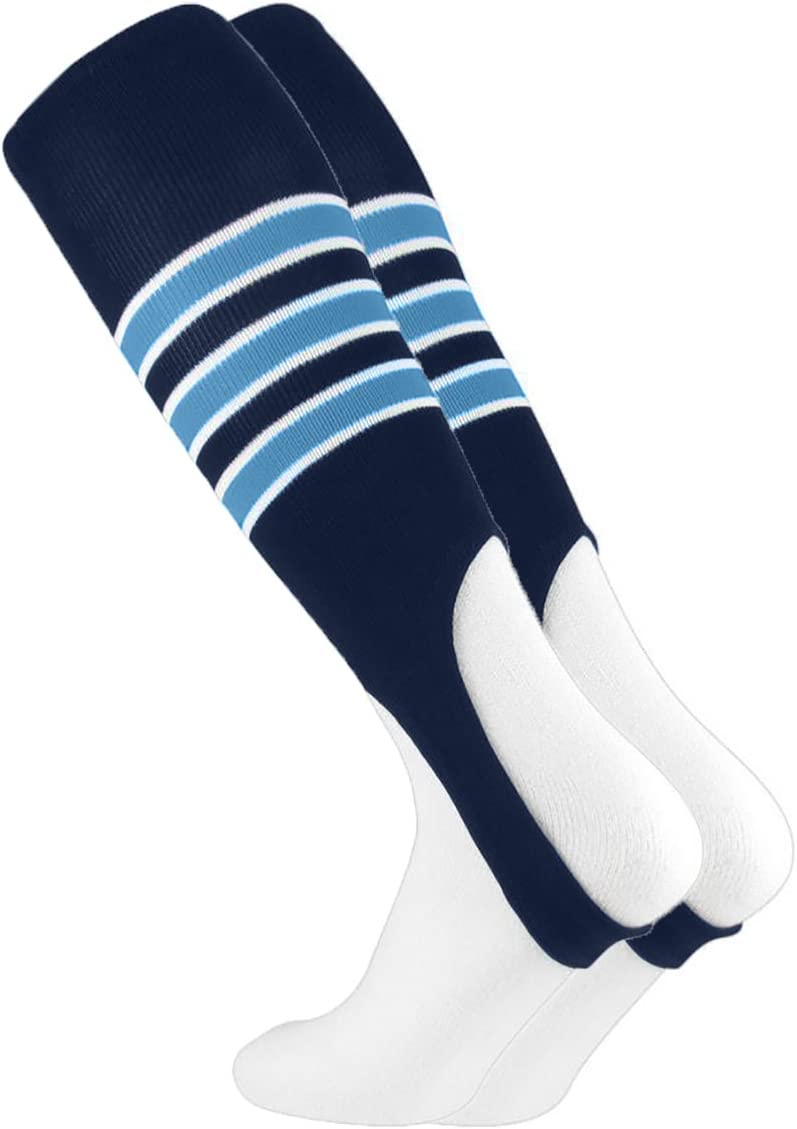 MadSportsStuff Baseball Stirrups by TCK multiple colors 3 Stripe with Featheredge Pattern D