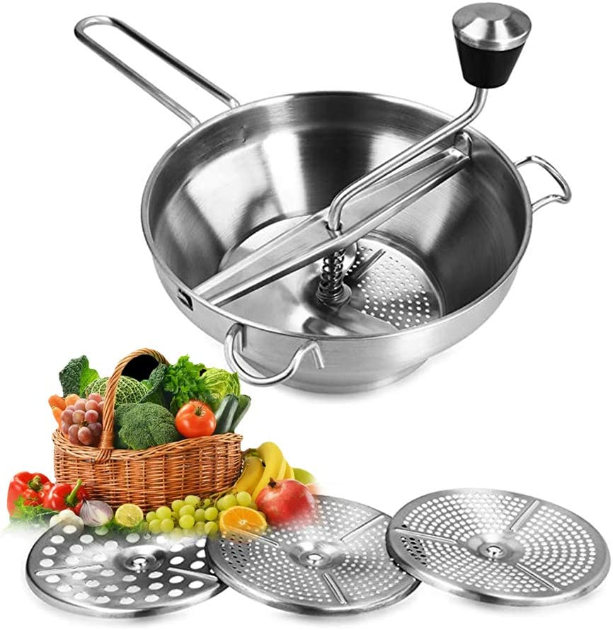 KOBSAINF Stainless Steel Food Mill Vegetable Strainer Rotary Food Mill 3 Discs for Mashing for Making Puree or Soups of Vegetables Baby Foods