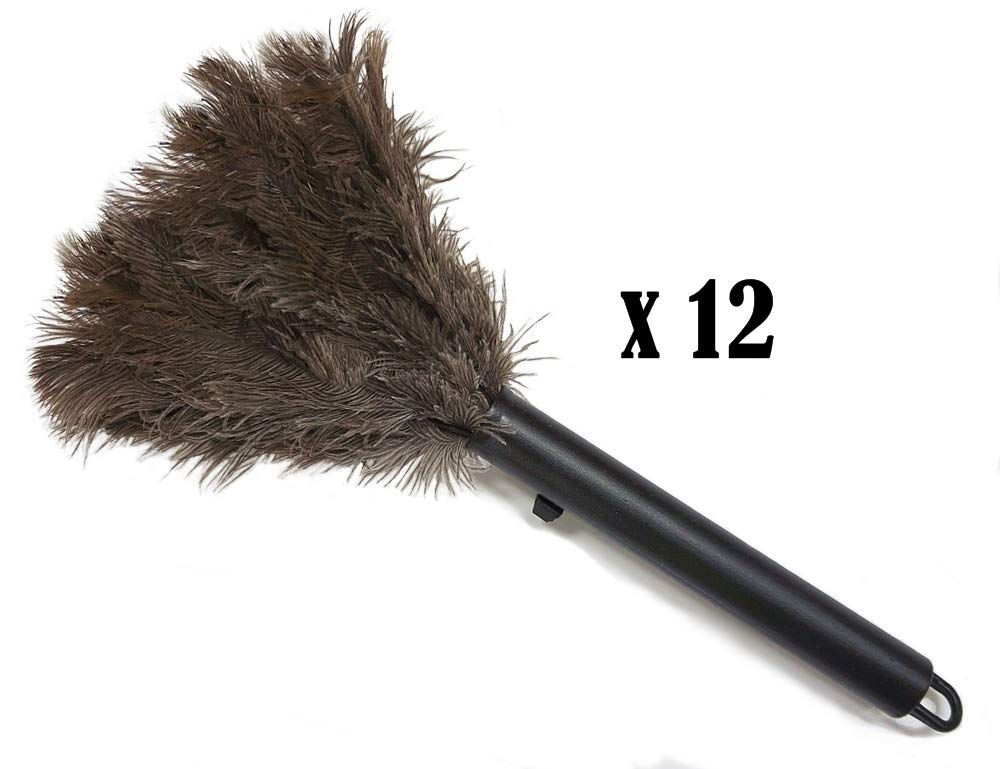 12-Pack - Retractable Feather Duster-Genuine Ostrich Feathers with Metal-Wire Binding