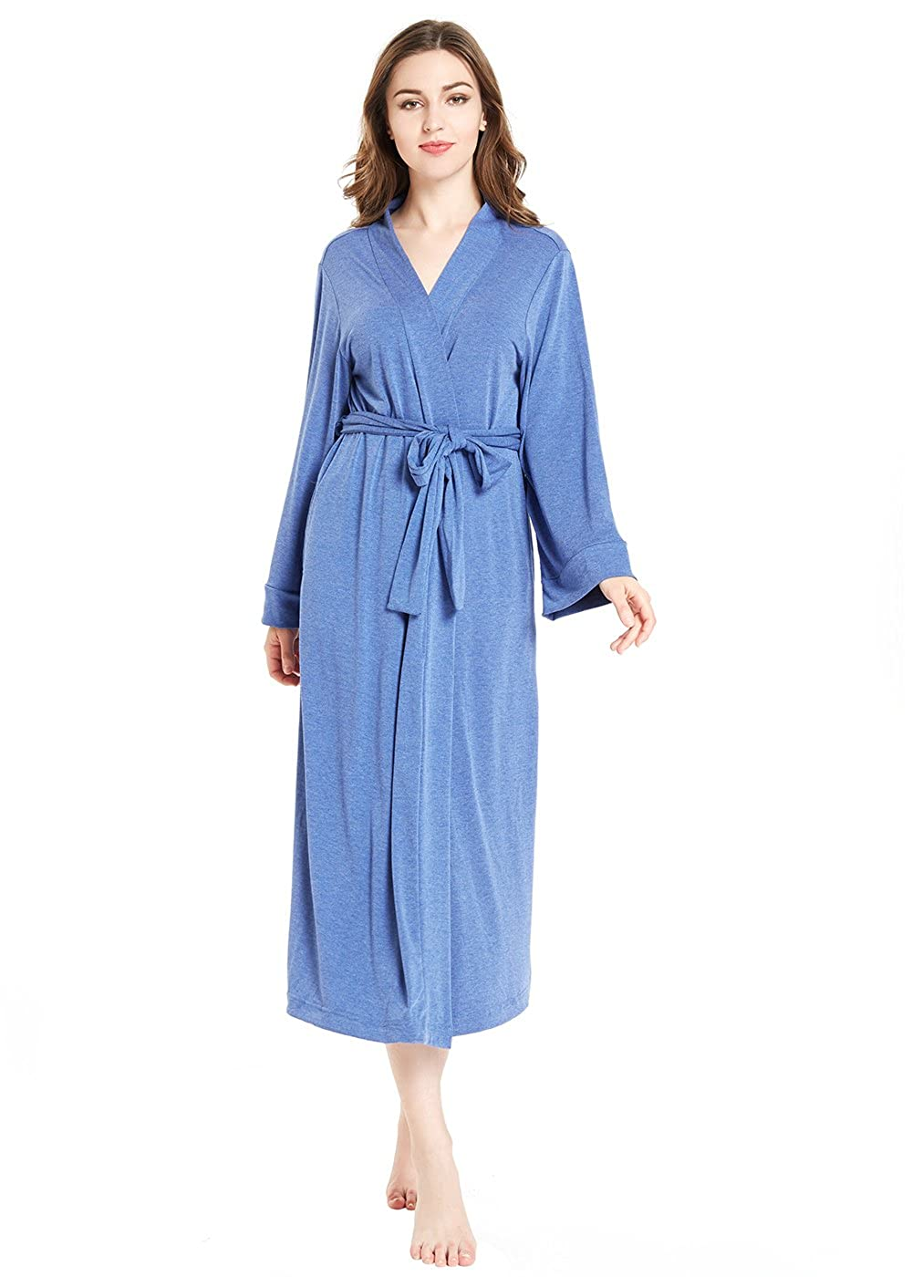bluee lantisan Silky Satin Robe Women, Long Bathrobe Full Length VNeck Dressing Gown