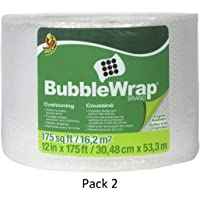 """Duck Brand Bubble Wrap Roll, Original Bubble Cushioning, 12"""" x 175', Perforated Every 12"""" (1053440), Clear, 2 Pack"""