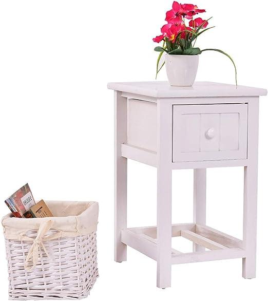 Bedside Table Bedroom Cabinet Organizer Night Stand 1 Drawer Basket Storage US