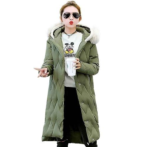 Masterein Mujeres Oreja con capucha de invierno gruesa larga capa Ola estilo único Breasted algodón ...