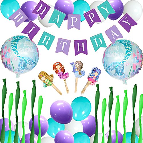 80 off mermaid party balloons decorations happy birthday banner