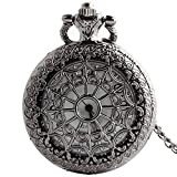 Shirleyle Black Vintage Antique Long Chain Pocket Watch Unisex Round Watch