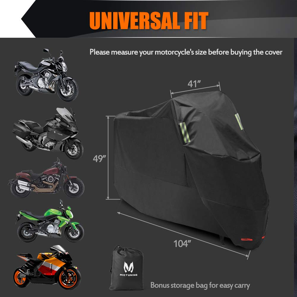 MICTUNING XXL Motorcycle Cover- All Weather Oxford UV-Protection w/Anti-Thief Lock Hole & Reflectors Motorbike Cover- Universal for Honda, Yamaha, Suzuki, Harley (104'' Max, Bonus Storage Bag) by MICTUNING (Image #7)