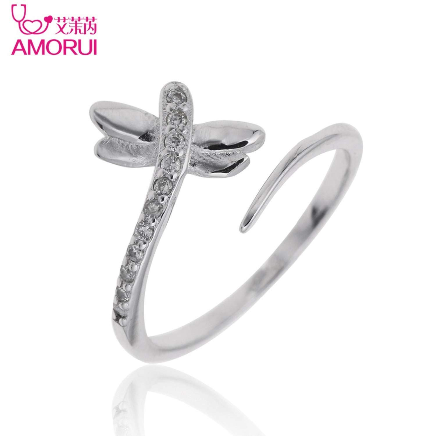 Amazon.com: JEWH Silver Color Open Ring - CZ Stone Engagement Women Jewelry - Copper Zircon Dragonfly Wedding Rings for Women - Elegent Sweet Design for ...