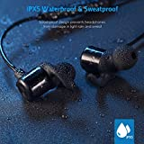 Criacr Bluetooth Headphones, In Ear Wireless Earbuds, 8 Hours 4.1 Magnetic Lightweight Sports Earphones, IPX5 Waterproof Sweatproof Stereo Headsets with Noise Cancelling Mic - Black