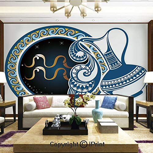 Lionpapa_mural Removable Wall Mural | Self-Adhesive Large Wallpaper,Image of Aquarius Sign with Jug and Circular Globe World Form on Background,Home Decor - 66x96 inches ()