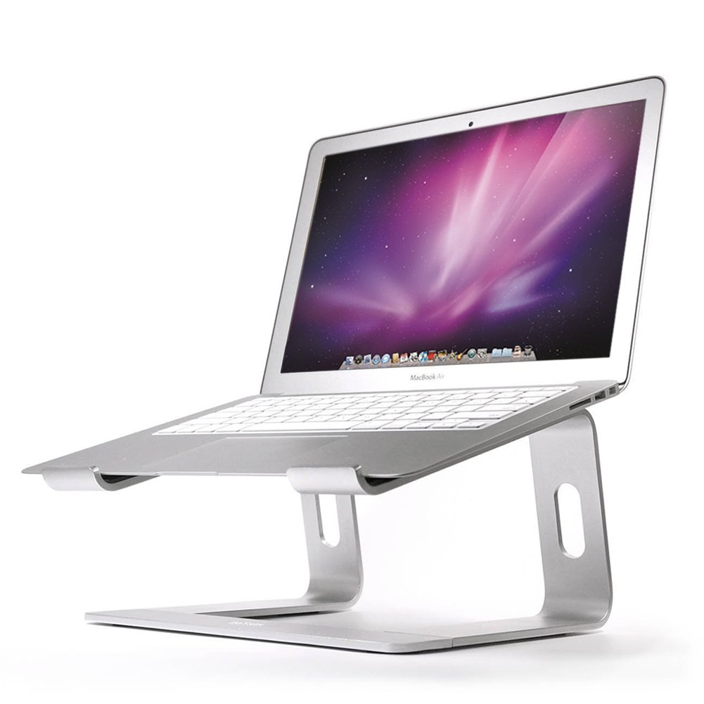Soundance Laptop Stand for Desk Mac MacBook Pro/Air and All Apple Notebooks, Ergonomic Holder Compact Riser Portable Design for 10 to 17.3 inch PC Desktop Computer Screen Display, Aluminum Silver LS1