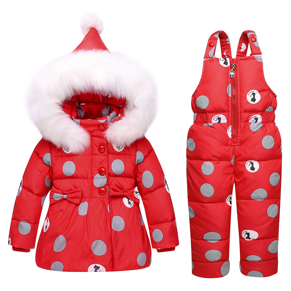 Tortor 1bacha Baby Kid Girls' Polka Dot Hooded Down Coat Snow Bib Pants Overall Set 8816