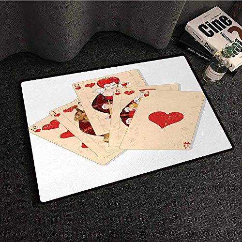 DILITECK Non-Slip Door mat Alice in Wonderland Crown Gambler Queen Hearts Royal Fairy Flush Face Magic Theme Hard and wear Resistant W30 xL39 Brown Red and Ecru