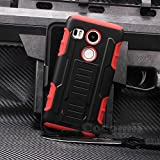 LG Nexus 5X Case, Cocomii Robot Armor NEW [Heavy Duty] Premium Belt Clip Holster Kickstand Shockproof Hard Bumper Shell [Military Defender] Full Body Dual Layer Rugged Cover Google (Red)