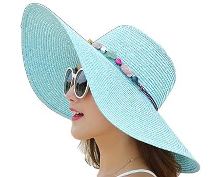 Fablcrew - Sombreros de paja de color liso con ala ancha 9a5a7841517