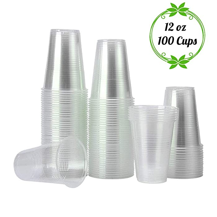 TashiLiving [ 12oz - 100 Cups ] Clear Plastic Coffee Cups, Disposable Transparent hot and Cold drink Cups for Water, Tea, Juice, Soda, Milk - BPA-Free