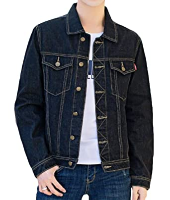 9e04c0e76b Nanquan Men Long Sleeve Single-Breasted All-Match Pockets Fashion Denim  Jacket Black US