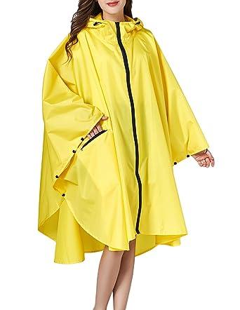 43f04a64a Amazon.com  Buauty Yellow Reusable Raincoat Waterproof Rain Poncho ...